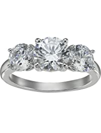 Platinum Plated Sterling Silver Three-Stone Anniversary Ring set with Round Cut Swarovski Zirconia (4 cttw), Size 8