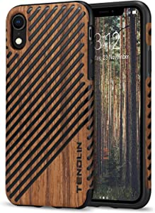 TENDLIN Compatible with iPhone XR Case Wood Grain Outside Design and Flexible TPU Silicone Hybrid Slim Case Compatible with iPhone XR 2018 (Wood & Leather)