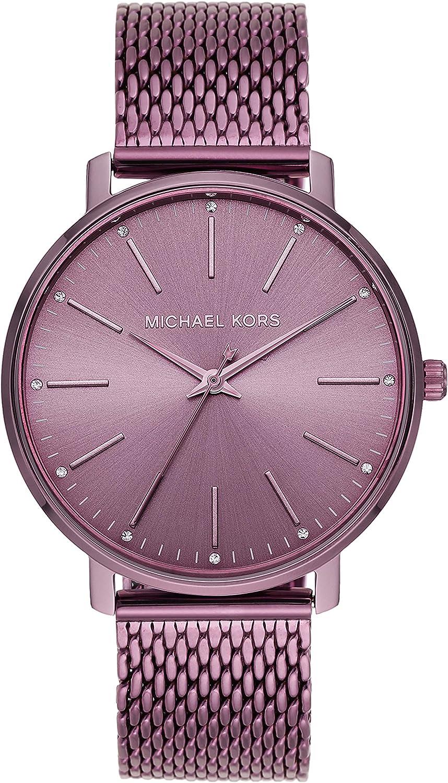 Michael Kors Women's Quartz Watch with Stainless Steel Strap, Purple, 18 (Model: MK4524)