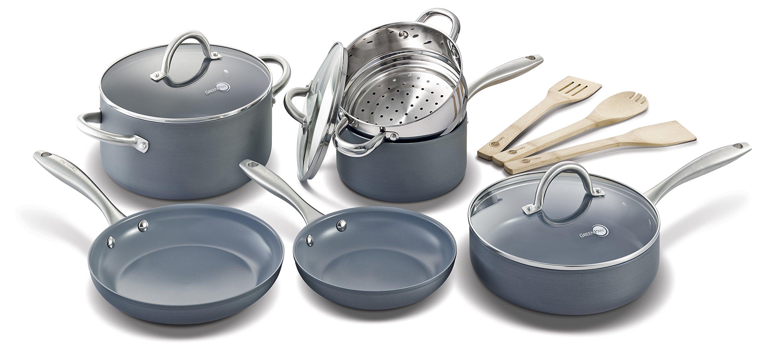 ceramic non stick frying pan pots cookware set 12pc toxic free safe ebay. Black Bedroom Furniture Sets. Home Design Ideas