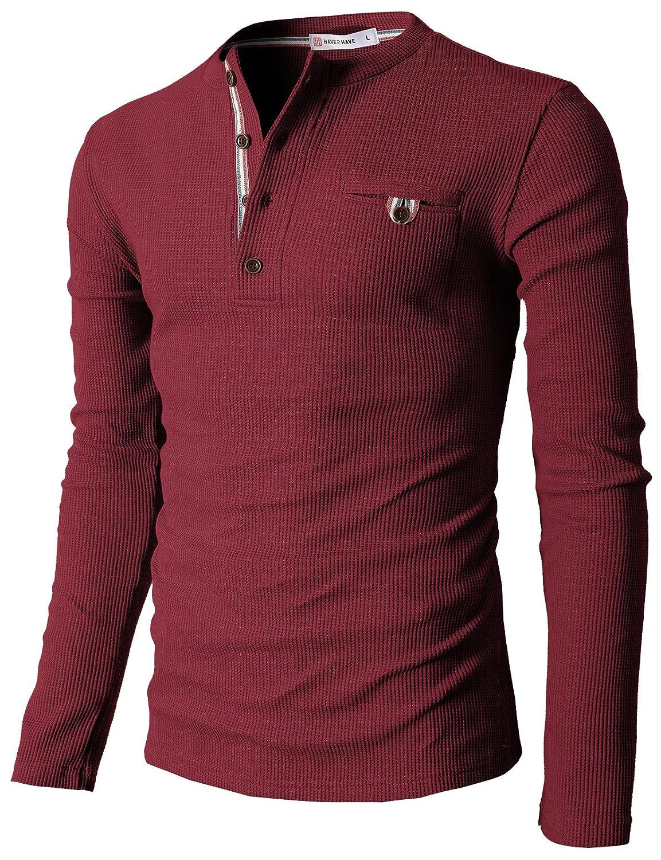 【H2H】 メンズ カジュアル ファッション ワッフル ヘンリー Tシャツ ポケット付き CMTTS0147 B00JR2NB0I L|062-ワイン 062-ワイン L