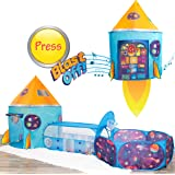 Kidcove Kids Play Tent with Tunnel and Blast Off Button, Kids Ball Pits for Toddlers 1-3, Toddler Ball Pit Tent and Kids Tunn
