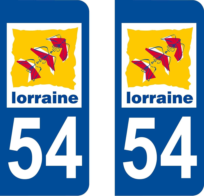 Lorraine 54 Meurthe et Moselle Autocollant plaque immatriculation pour Auto Lorraine d/épartement