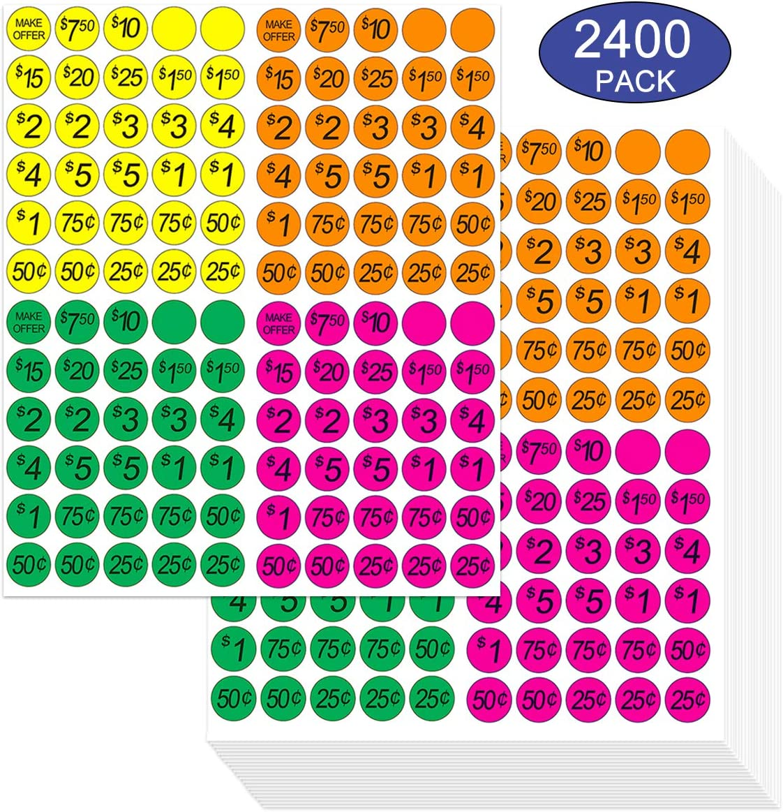Garage Sale Pricing Stickers, Yoklili Preprinted Price Labels - Bright Neon Removable Sale Stickers with Prices, Multicolored in Yellow/Pink/Green/Orange, Pack of 2400,Sale & Percent off Sign Included 81gM4EmrEDL