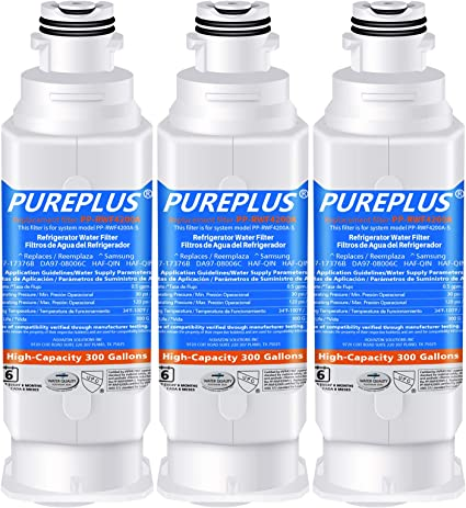 Amazon Com Pureplus Da97 17376b Water Filter Replacement For Samsung Haf Qin Haf Qin Exp Da97 08006c Rf23m8070sg Rf23m8070sr Rf23m8090sg Rf23m8090sr Rf23m8570sr Rf23m8590sg Refrigerator 3pack Kitchen Dining