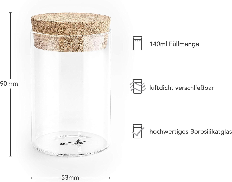 returtle Gew/ürzgl/äser Set luftdichte Gew/ürzaufbewahrung - Ideale Gew/ürzdosen aus Glas mit Korkdeckel 10 St/ück Gew/ürzbeh/älter mit 140ml F/üllmenge