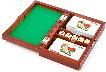11363 Caja de Juego de Cartas y Dados, Small Foot, Juego de 2 Juegos de Cartas y 5 Dados, con Caja de Almacenamiento.: Amazon.es: Juguetes y juegos