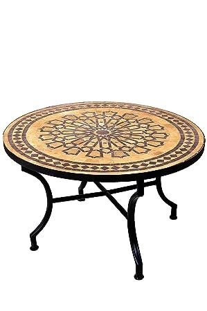 Mosaik-Tisch Mosaiktisch aus Marokko 80 cm Rund Terrasse Möbel Gartentisch