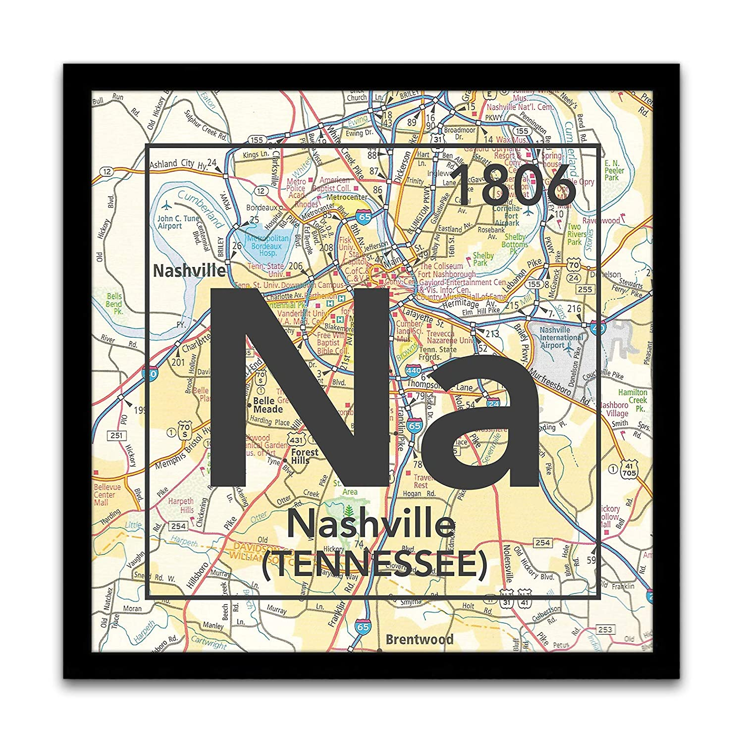 Na -Nashville Tennessee Vintage Periodic Chart Map Art Print, Unframed, Atlas Road Map Home & Wall Decor, Wedding - Housewarming Gift, 8x8 Inches