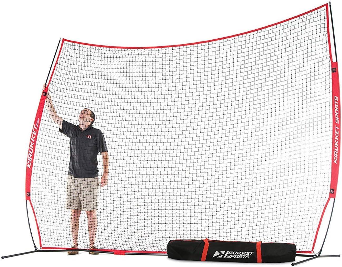 Rukket Barricade Backstop Net | Indoor and Outdoor Lacrosse, Basketball, Soccer, Field Hockey, Baseball, Softball Barrier Netting for Backyard, Park, and Residential Use