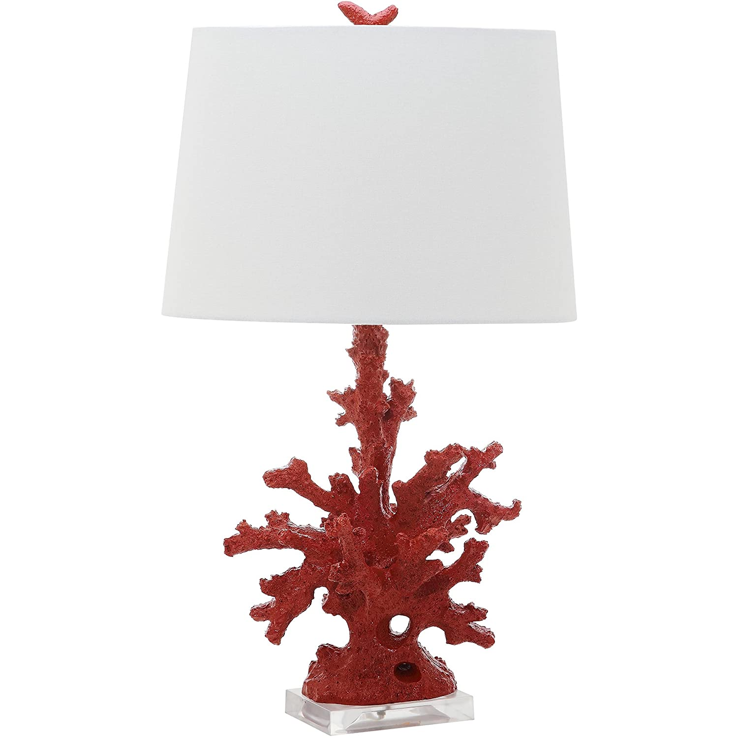 Coastal Christmas Tablescape Décor - Red faux coral branch table lamps - Set of 2