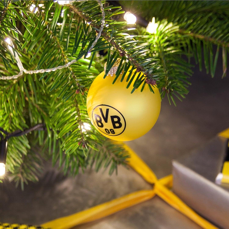 Bvb Weihnachtsbaum.Brauns Borussia Dortmund Weihnachtskugel 4er Set Bvb Schwarz Gelb 15192