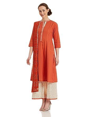 3c47b102c BIBA Women s A-Line Salwar Suit (SKD5007 red 42)  Amazon.in ...