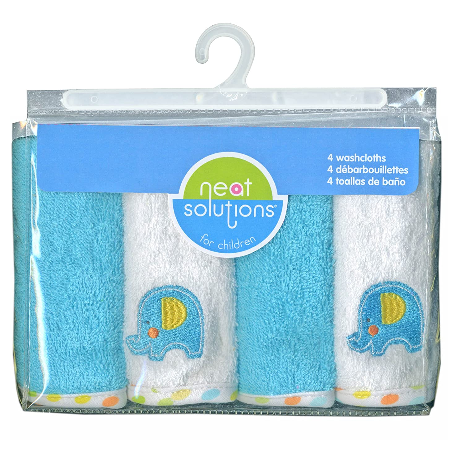 Amazon.com : Neat Solutions Solid Woven Terry Washcloth Set, Teal Elephant, 4-Count : Baby Washcloths : Baby