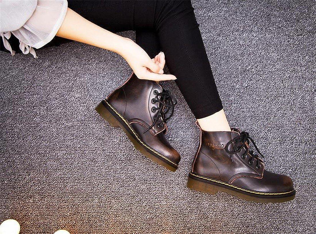 Weinlese Martin Herbst Frauen Martin Weinlese Stiefel Ankle Boot zum Schnueren Warm Damenschuhe Rub braun mit Baumwolle 23bb0b