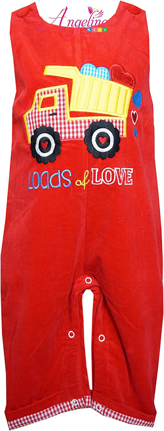 Angeline Boutique Clothing Baby Boys Valentines Day Dump Truck Loads of Love Romper Longall