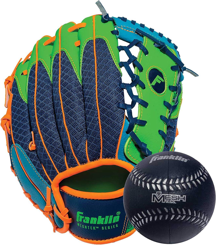 "Franklin Sports Teeball Glove and Ball Set - Meshtek Teeball Glove and Foam Baseball - 9.5"""