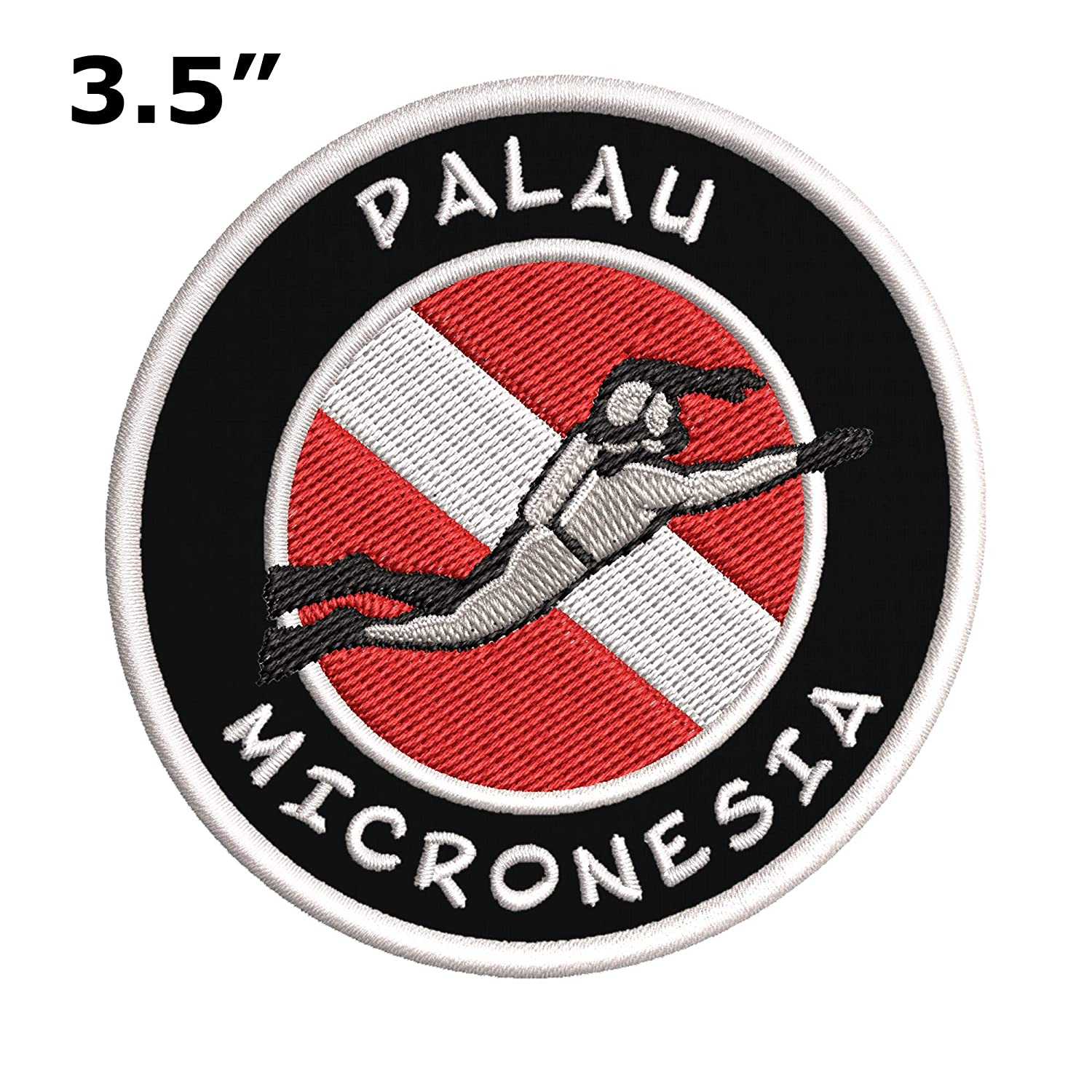 Scuba Diver Flag Patch Palau Micronesia Iron//Sew-on Embroidered Fabric Badge Diving Dive Vacation Souvenir