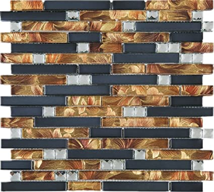 TDSG-13 Copper Brown Wallpaper Glass Mosaic Tile-Kitchen and ...