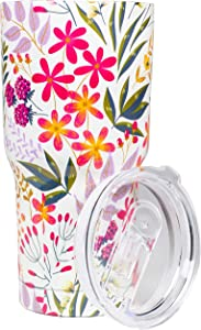 Steel Mill & Co 30 Ounce Stainless Steel Tumbler with Lid, Women's Pink Floral Vacuum Sealed Double Wall Insulated Travel Cup for Hot and Cold Drinks, Wildflowers