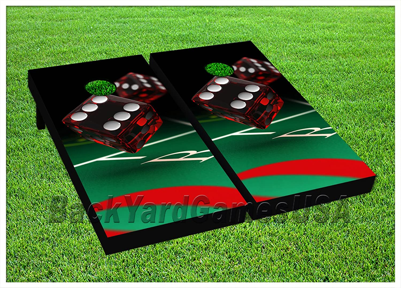 CORNHOLE BEANBAG TOSS GAME ラッキーレッド ダイス カジノ バッグ付き ゲームボードセット 1071