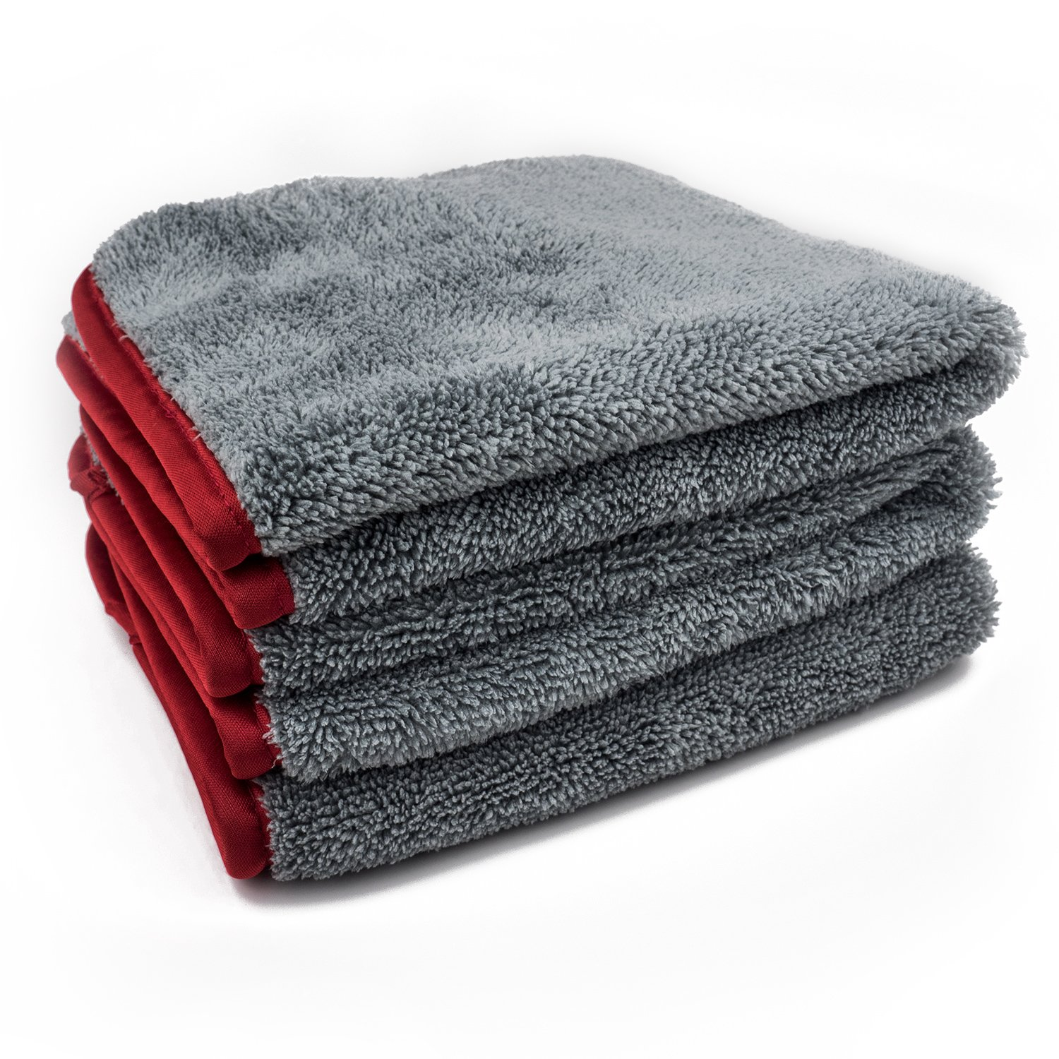 Set of 3 - Ultra Plush 650GSM Chinchilla Microfiber Towel 16x16' - Super Soft, Scratch Free Towels - Great for Waterless Wash, Quick Detail, Interior Dusting Detail Buddy DB-600GSM3PK