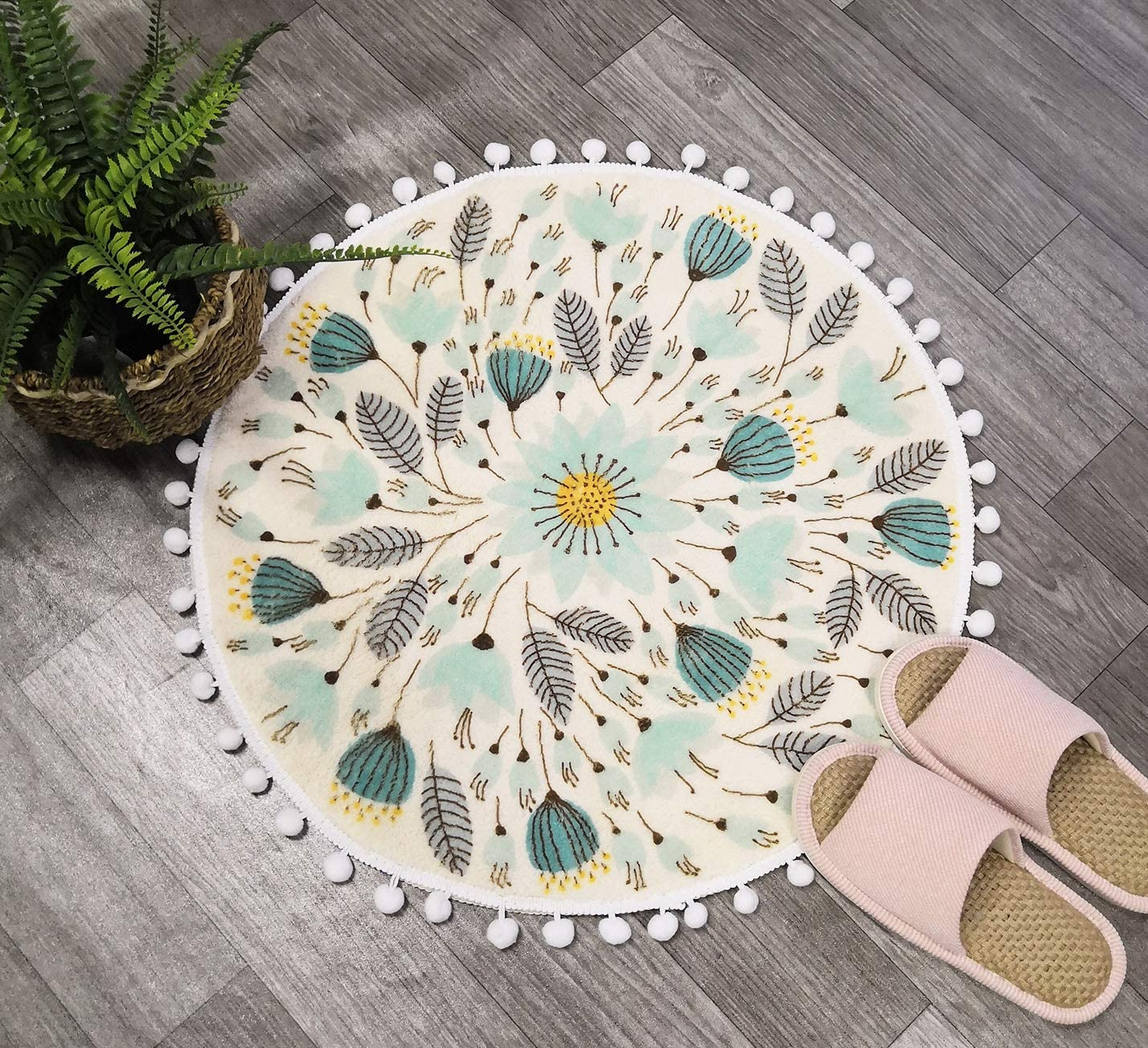 Amazon Com Uphome Round Small Area Rug 2ft With Chic Pom Pom Fringe Floral Velvet Bathroom Rugs Field Plants Non Slip Soft Floor Throw Rug Machine Washable For Living Room Bedroom Decor Kitchen Dining
