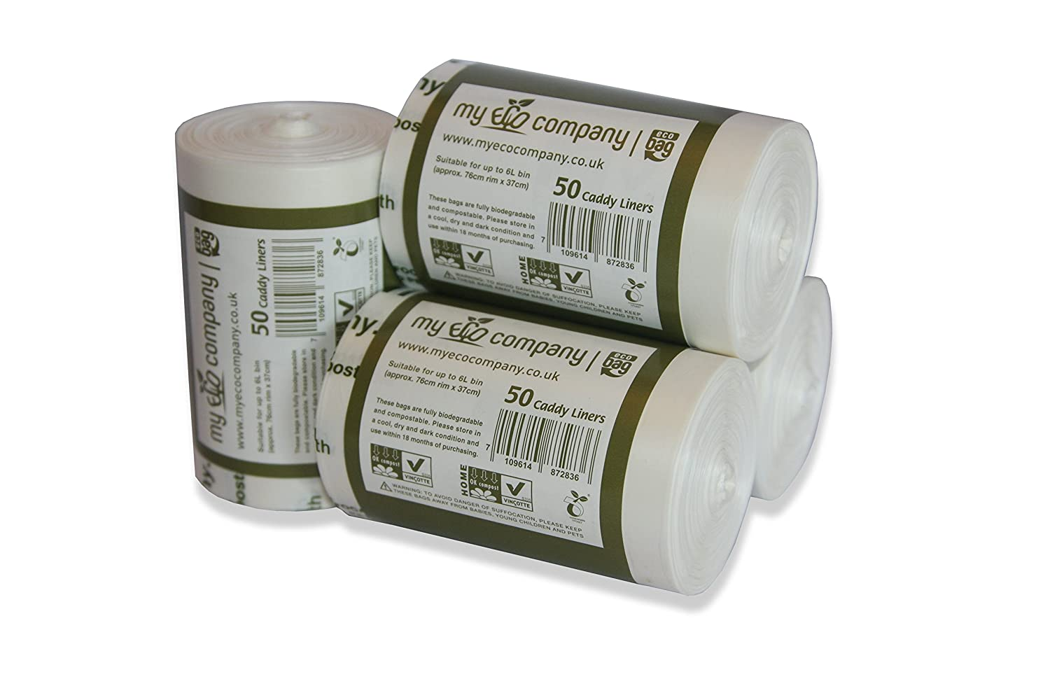 My Eco Company 5L / 6L Compostable Kitchen Food Waste Compost Bin Bags - 200 Caddy Liners (5 Litre / 6 Litre)