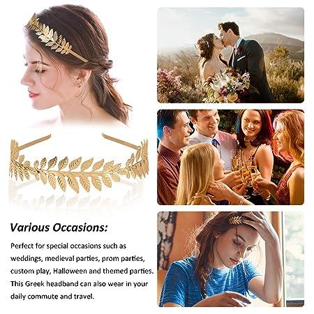 OZUAR Diadema de Hoja Dorada Estilo Griego Diadema de Corona Tiara  Accesorios para el Cabello Elegante ... b456f1aac0d1