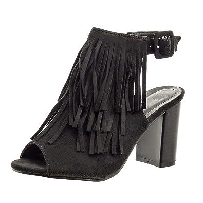 58ebeec7235 Sopily - Chaussure Mode Sandale Bottine ouverte Cheville femmes frange  boucle Talon haut bloc 8 CM