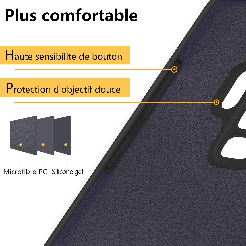 Coque Samsung Galaxy S9 plus , JASBONCoqueSiliconeLiquide Anti-rayure HousseProtectionSiliconeAnti-patinage GelCasepourSamsung Galaxy S9 plus – Noir