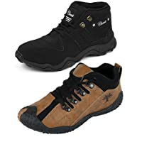 Chevit Men's Leather and Mesh Sneakers - Pack of 2