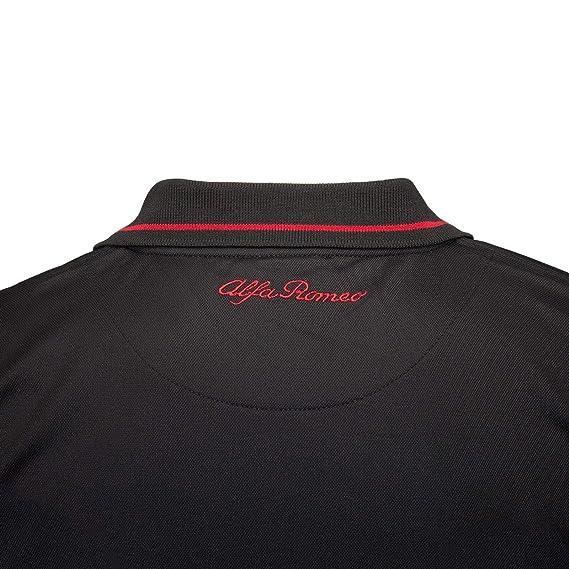 FCA Polo Camiseta Alfa-Romeo Deportiva para Hombre, Color Negro ...