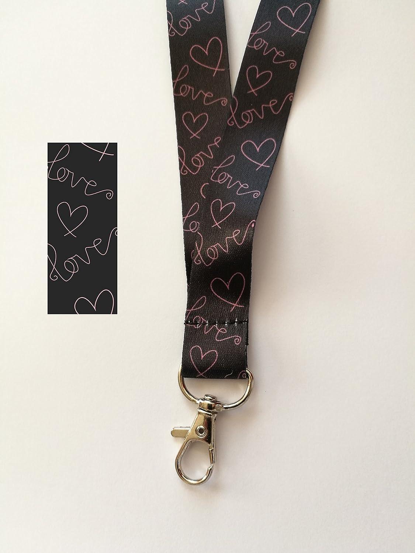 de la marca Free UK P/&P rom/ántica con cord/ón para el cuello 1 correa para el cuello con dise/ño de amor en color negro y rosa