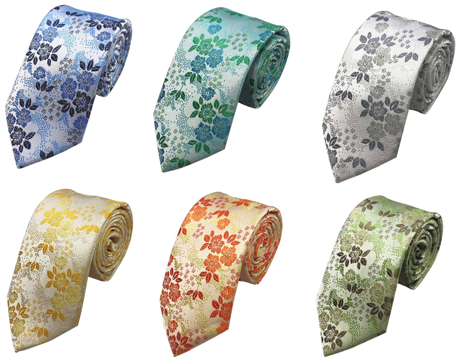 OUMUS 6 PCS Classic Men's Tie, Cotton Printed Floral Neck Tie, Great for Weddings, Groom, Groomsmen, Missions, Dances, Gifts.
