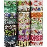 UOOOM 24 Rotoli Decorativo Washi Tape Nastro Adesivo Scrapbooking DIY Craft regalo (Design 9038)