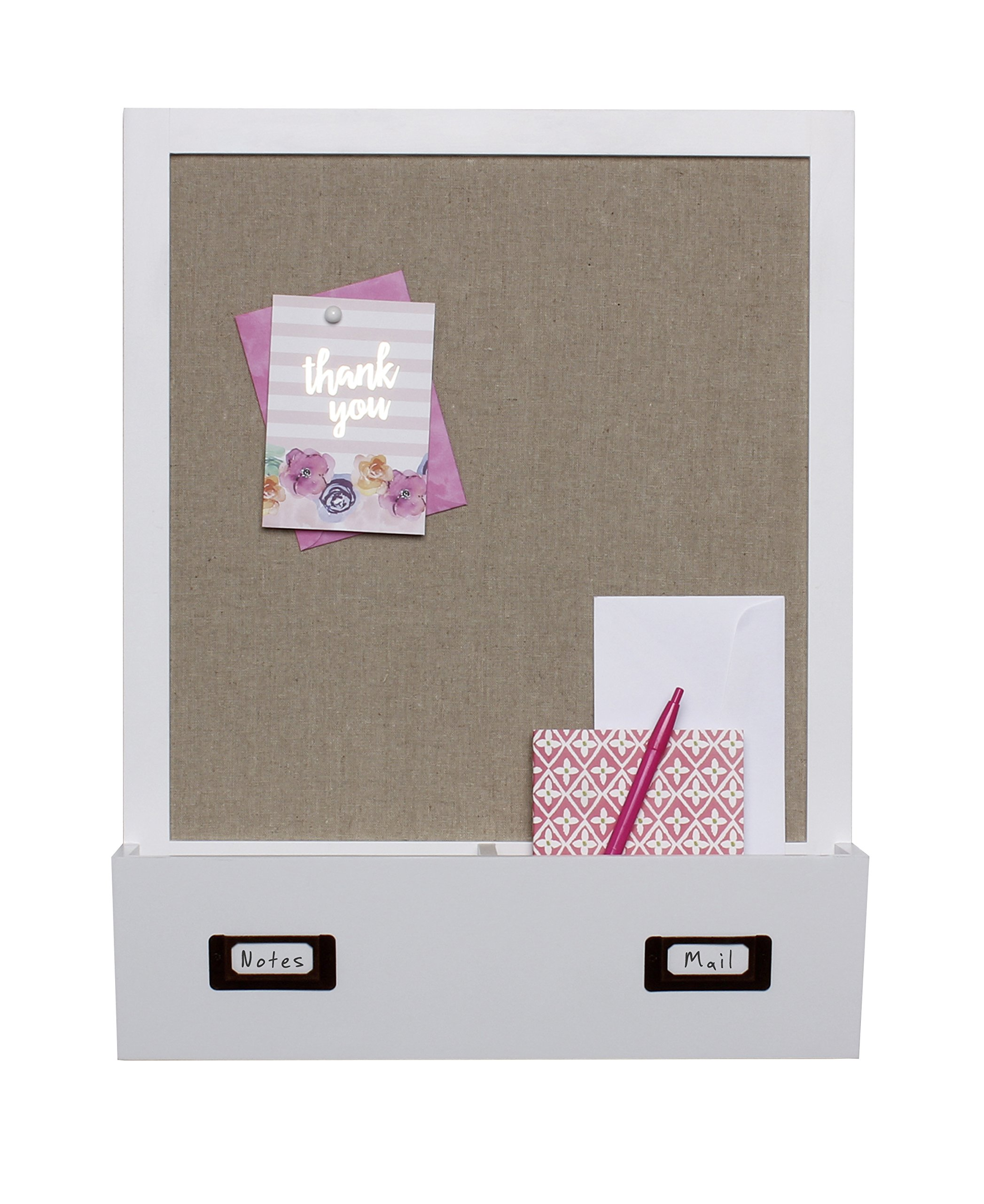 DesignOvation Decorative Wall Wood Home Organizer with Fabric Pin Board & Two Cubbies, White (209333) by DesignOvation