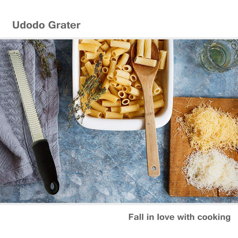 Udodo Cheese Grater Stainless Steel Vegetable Slicer Handheld Lemon Zester Ginger Chocolate Garlic Grater Slicer - Red