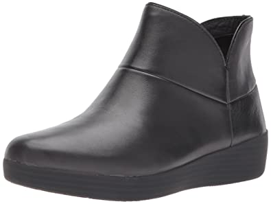 FitFlop Women's Supermod II Leather Ankle Boot, All Black, ...