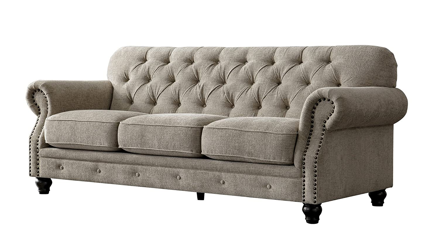 Acanva Chesterfield Chenille Living Room Sofa Couch, Almond