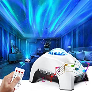Colorful Aurora Projector & White Noise Night Light,Northern Lights Star Projector with Bluetooth Speaker & Remote,Galaxy Light Projector for Baby Kids Adults,for Bedroom/Ceiling/Mood Ambiance(White)