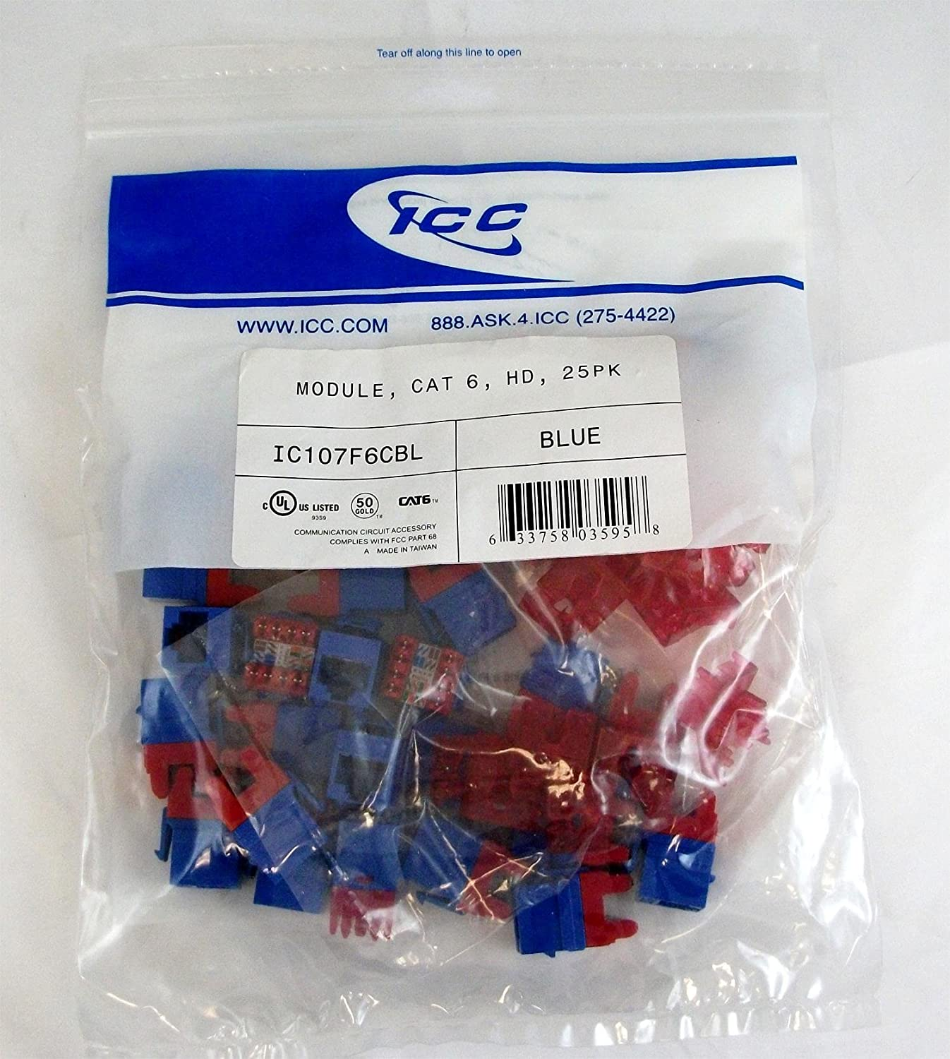 Amazon.com: MODULE, CAT 6, HD, 25PK, BLUE-ICC-Installation Equipment-Wall  Jacks/Inserts: Electronics