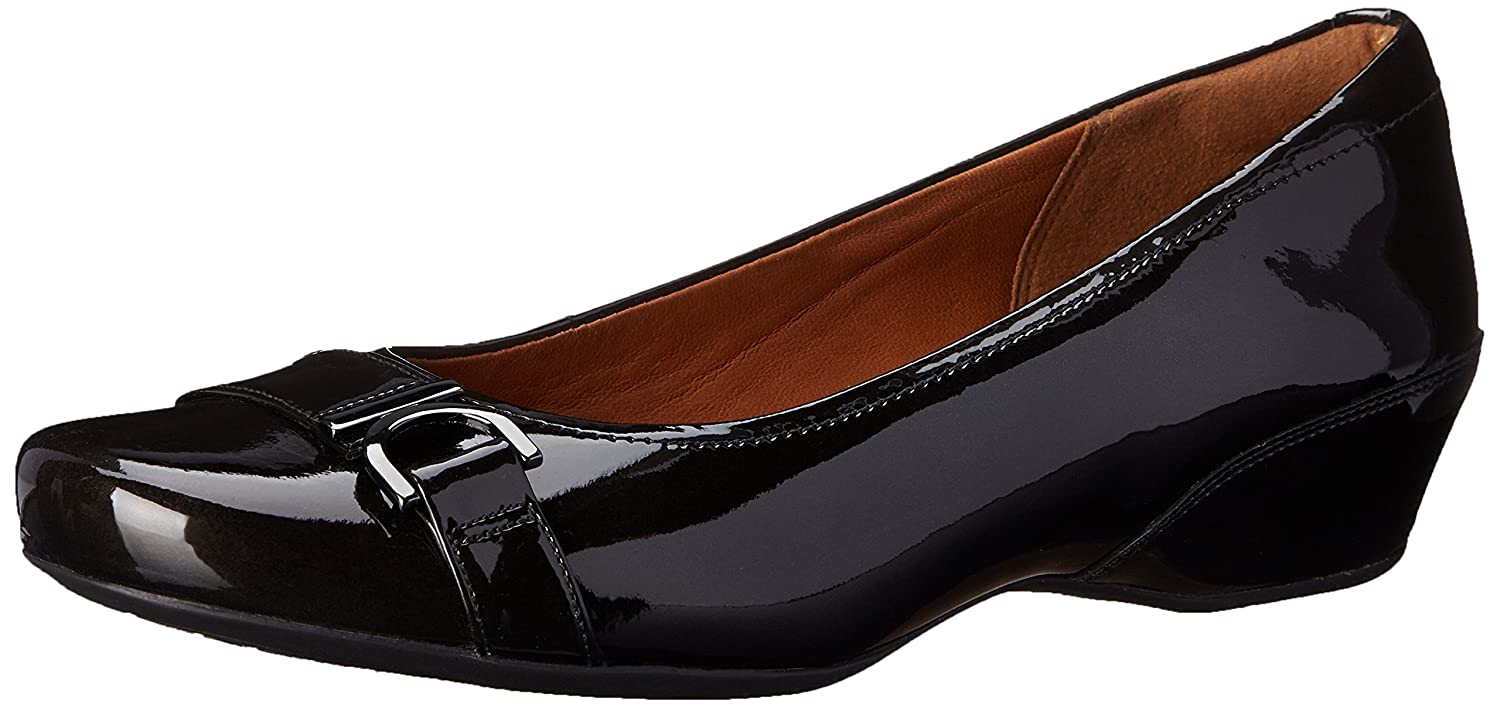 CLARKS Women's Concert Band Wedge Pump B00HRBRNHS 7 B(M) US|Black Patent Leather