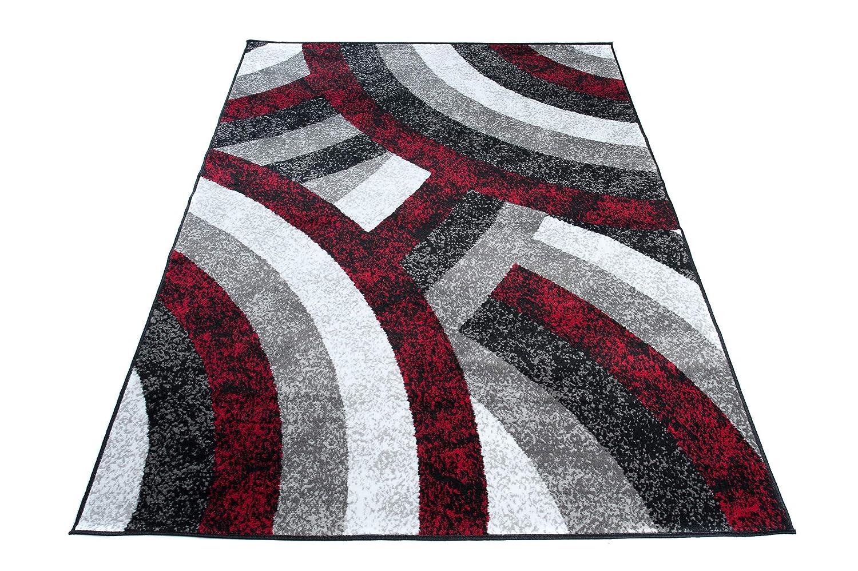 Tapiso Fire Teppich Modern Kurzflor Wellen Streifen Abstrakt Muster Grau Weiss Rot Schwarz Designer Wohnzimmer 200 x 300 cm