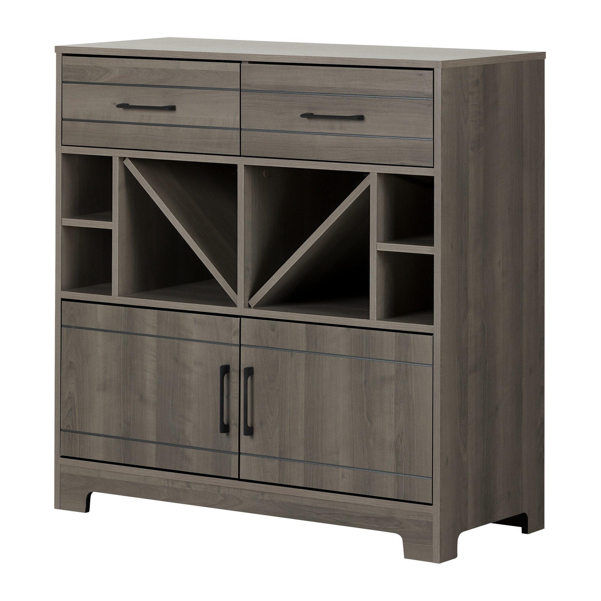 South Shore Vietti Bar Cabinet with Liquor and Wine Bottle Storage with Drawers, Gray Maple with Metal Handles by South Shore
