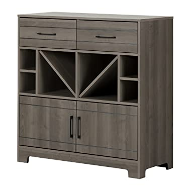 South Shore Vietti Bar Cabinet with Liquor and Wine Bottle Storage with Drawers, Gray Maple with Metal Handles