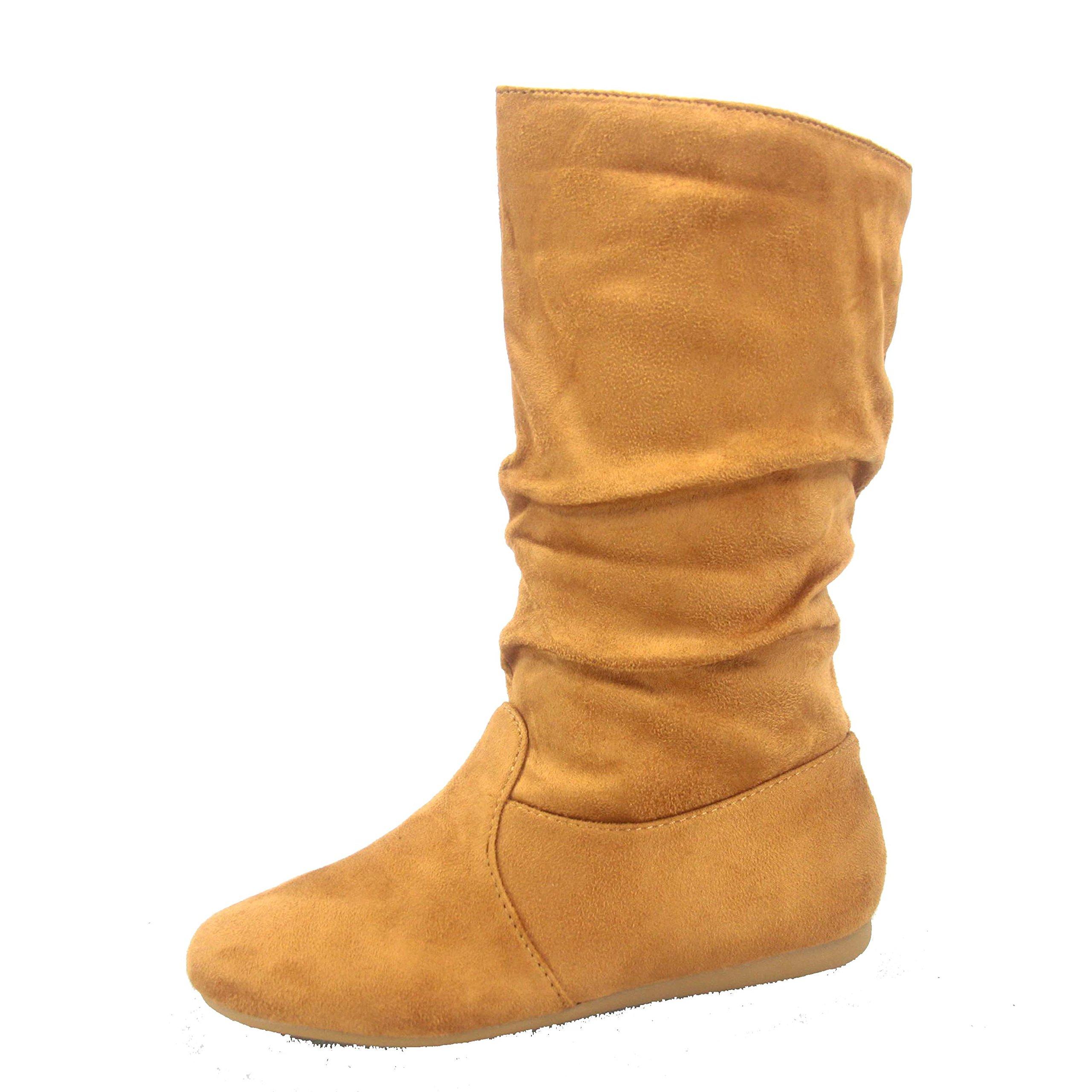 Forever Link Selena-23k Girl's Kid's Cute Causal Zipper Mid Calf Slouchy Flat Boot Shoes (9 B(M) US, Tan)