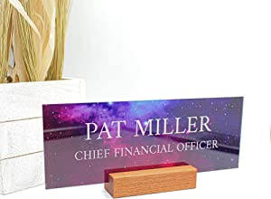 "Office Desk Name Plate Personalized | Custom Name Plates for Desks on Acrylic Glass Decor | Office Desk Decor Nameplate | Desk Accessories | Galaxy Sky - (8""x3"")"