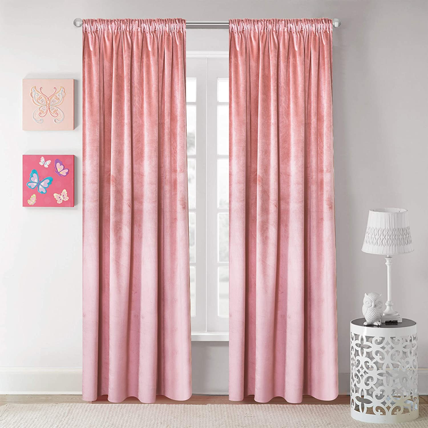 Roslynwood Velvet Curtain Panels Blush Room Darkening Window Super Soft Luxury Drapes for Bedroom Thermal Insulated Rod Pocket Curtain for Living Room 2 Panels, 52 by 63 Inch