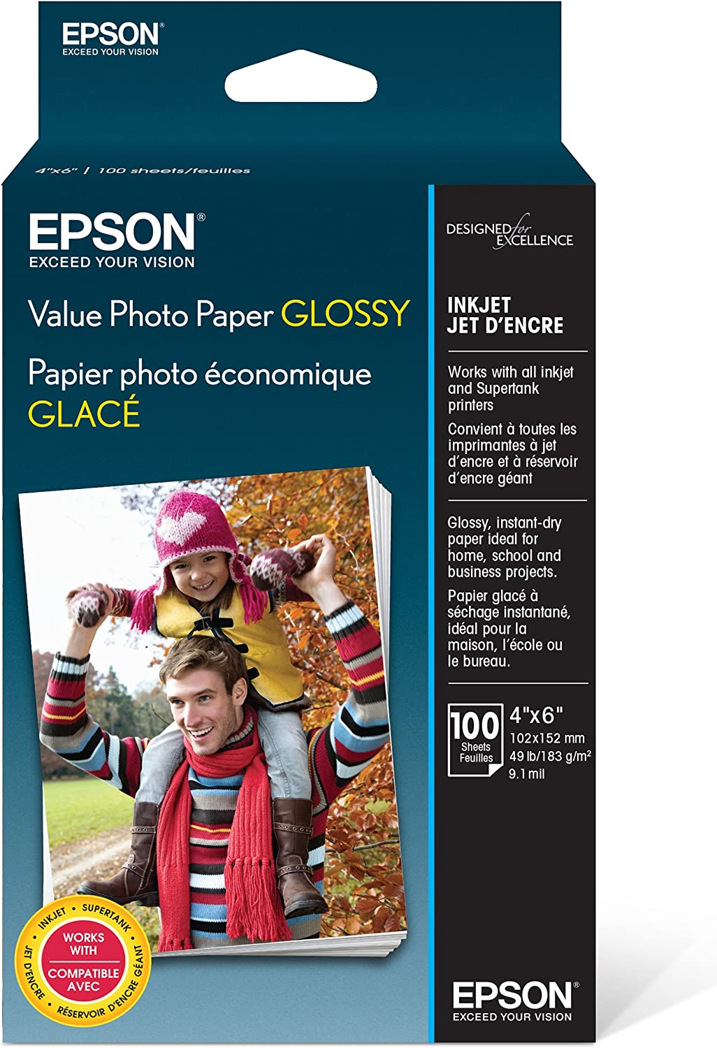 100 Sheets Epson Premium 4x6 Glossy Photo Paper